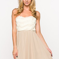 Taupe Sweatheart Rose Dress