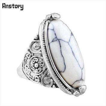 VONG2W Flower Band Oval Natural Stone Rings For Women Vintage Look Antique Silver Plated 5 Colors Fashion Jewelry TR362