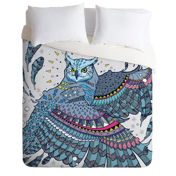 Geronimo Studio Great Horned Owl In Blue Duvet Cover