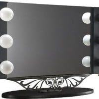 "Starlet Table Top Lighted Vanity Mirror 34"" x 23"" - Black Frame, Black Surface"