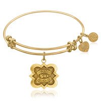 Expandable Bangle in Yellow Tone Brass with Phi Mu Symbol
