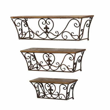 Benzara Metal Wall Shelf with Classic Charm and Sublime Curves - Set of 3