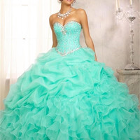 Cheap Aqua Pink Quinceanera Dresses 2017 Sweetheart Beads Organza Ball Gown Prom Dress Vestidos De 15 Anos Sweet 16 Dresses