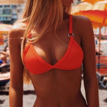 Orange Bandage Triangle Bikini Suits