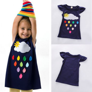 Toddler Kids Baby Girls Infant Print Casual Summer Cartoon Dress Clothes 2-7Y CA