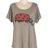 ModCloth Quirky Mid-length Short Sleeves Never Fauna Give You Up Tee