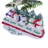 Christmas ornament personalized family of 5 snowmen sledding personalized snowmen with family name
