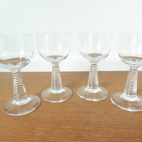 Set of four clear Roemer glasses, German hock glasses with ribbed stems