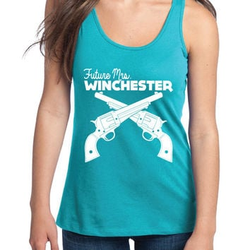 Supernatural Inspired Clothing - Future Mrs Winchester Racerback Tank Top | Dean Winchester | Sam Winchester | Supernatural | Workout Shirt