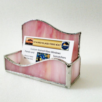 Business Card Holder - Stained Glass - Pink Swirl Wave - Desk Accessory - Office Decor - Desk Set