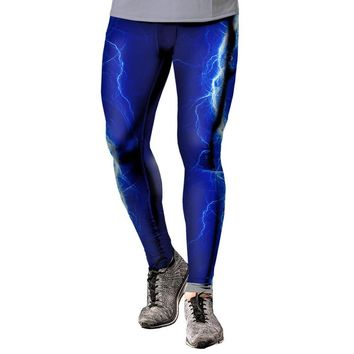 Men's Blue Lightning Leggings