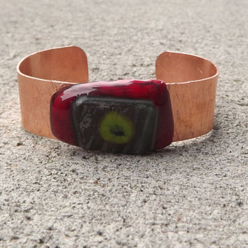 Red and Green Glass Copper Bracelet cuff