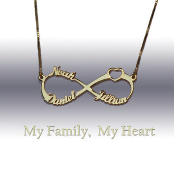 3 Names infinity necklace personalized family 14k gold plated infinity necklace