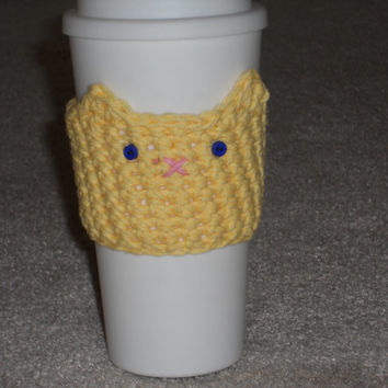 Crochet Kitty Cat Travel Coffee Mug Cozy With Tail! Handmade to Order-Any color!