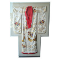 Gorgeous Silk Japanese Bridal Kimono Framed in Custom Acrilic Shadow Box
