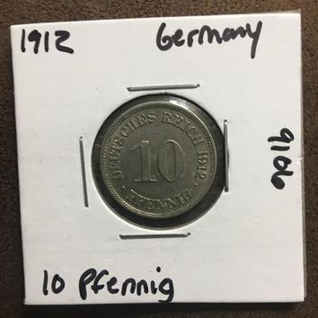1912 German Empire 10 Pfennig Coin 9106