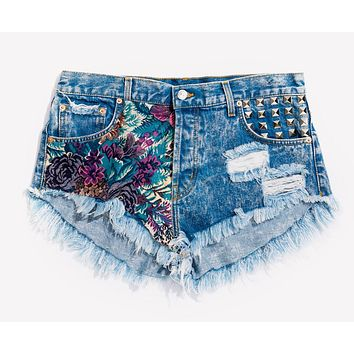 Flower Power Studded Babe Shorts