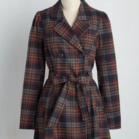 Capital Class Trench in Plaid | Mod Retro Vintage Coats | ModCloth.com