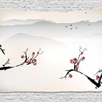 Asian Decor Tapestry by Ambesonne, Japanese Nature Landscape with National Sakura Flower over Himalayas and Flying Gulls, Wall Hanging for Bedroom for Living Room Dorm, 80 W X 60 L, Beige Red Black