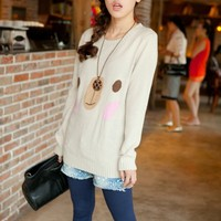 Adorable Bear Face Rib Knitted Pullover Sweater Top 3 Colors
