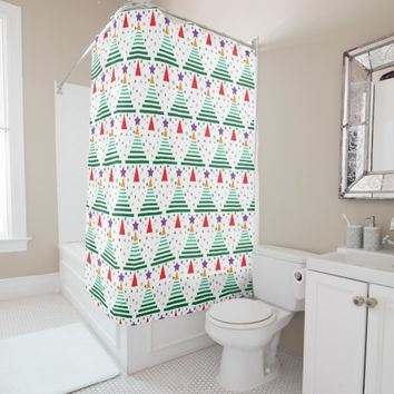 Modern Trees Pattern Christmas Shower Curtain