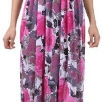 Modern Peony Floral Graphic Print Beaded Halter Smocked Bodice Long / Maxi Dress ( 2 Colors )
