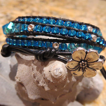 Tropical Waters four Wrap Bracelet in shades of Blues and Aqua with silver beads and Flower Button