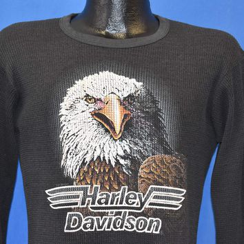 80s Harley Davidson B&D Long Sleeve Thermal t-shirt Medium