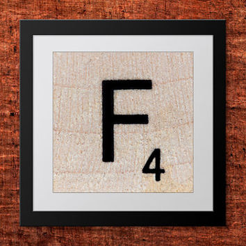 DIY Wall Art, Letter F-Personalized Word Art, Instant Download, Printable Letter, Scrabble Wall Art, Alphabet Art, Downloadable Image, Print