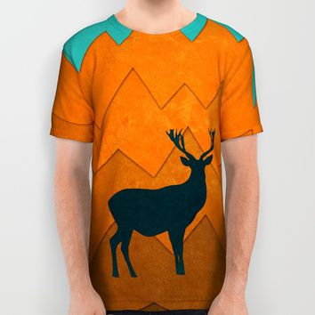 Deer silhouette in autumn All Over Print Shirt by EDrawings38