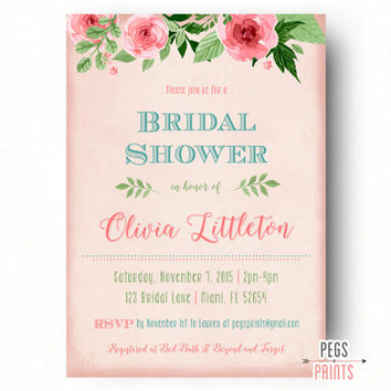 Floral Bridal Shower Invitation // Printable Bridal Shower Invite // Shabby Chic Bridal Shower Invitations // Vintage Rose Pink Background