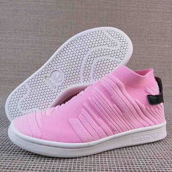 Women Adidas STAN SMITH SOCK Fashion Trending Leisure Running Sports Shoes Pink G-A36H-MY