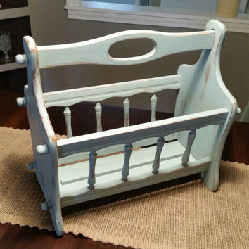 Magazine Rack, Annie Sloan Duck Egg Chalk Painted Magazine Rack, Vintage Magazine Rack, Blue Magazine Rack, Wood Magazine Rack, Shabby Chic