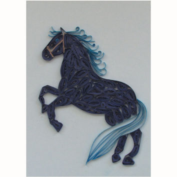 Horse Quilling Card, Blue Horse Greeting Card, Year of the Blue Horse Greeting Card