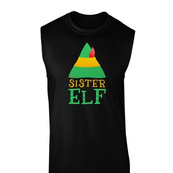 Matching Christmas Design - Elf Family - Sister Elf Dark Muscle Shirt