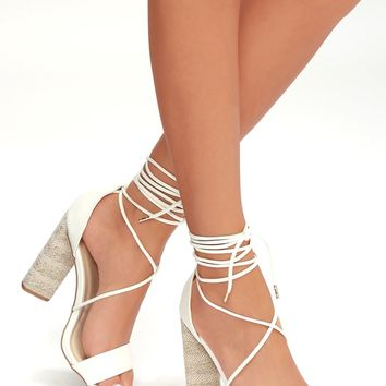 Sora White Lace-Up Heels