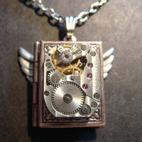 Steampunk Vintage Watch Movement with Gears Copper Book LOCKET Necklace with Wings (391)