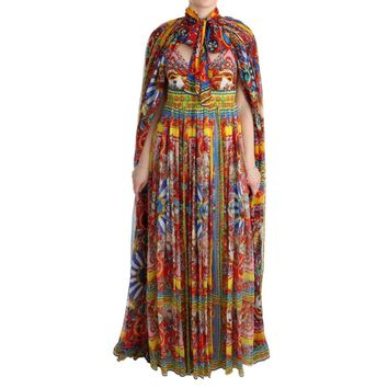 Dolce & Gabbana Multicolor Silk Carretto Cape Kaftan Tunic Long Dress