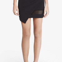 Asymmetrical Mini Skirt With Mesh Inset from EXPRESS
