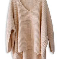 Beige V Neck Dipped Hem Long Sleeve Jumper