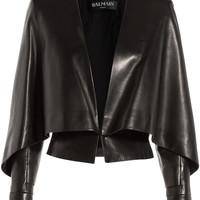 Balmain - Leather Jacket with Bat Sleeves