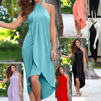 Hot Sale Summer Dresses For Women Fashion Ruffle Beach Casual Dress Elegant Ladies Sexy Halter Prom Party Evening Dresses