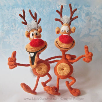 035 Reindeer Rudolph toy Crochet Pattern.  Toy with wire frame Amigurumi - PDF file by Bakaeva Etsy