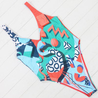 Digital Print One Piece Swimsuit Sexy Backless Bodysuit Classic Brand Women Bathing Suit Beach Vintage Bodysuit