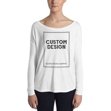 CUSTOM TEXT  Personalized Women's Comfortable Flowy Long Sleeve Tee with 2x1 Sleeves - Custom Design T-shirt with saying, Photo Dog cat