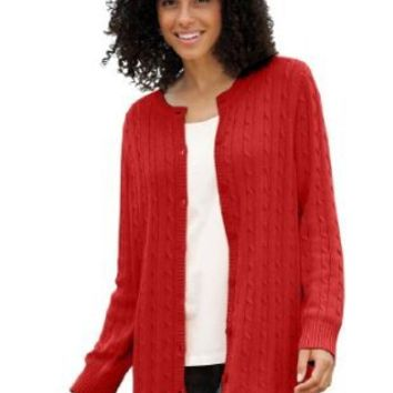 Women's Plus Size Cabled Cardigan Sweater