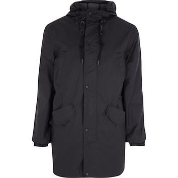 River Island MensBlack Bellfield hooded parka coat