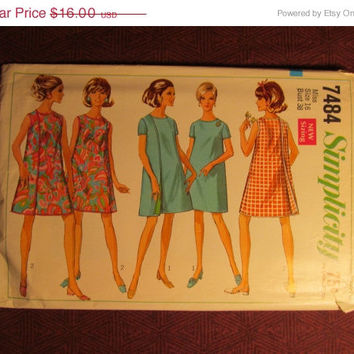 SALE Uncut 1960's Simplicity Sewing Pattern, 7484! Size 16 Bust 38 Large/Women's/Misses/Collarless wrap Around Dress/Short Thigh Length Dres