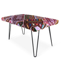Turkish Patchwork Hairpin Bench- III