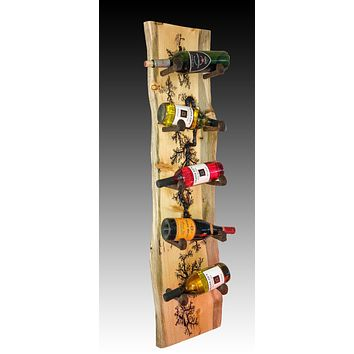 Rustic Railroad Spike 5 Bottle Wall Mounted Wine Rack